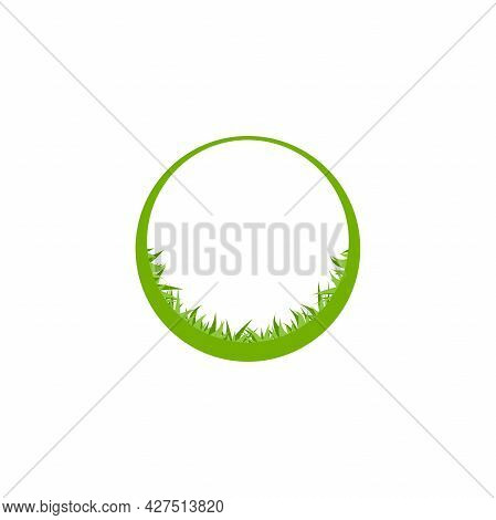 Round Frame With Grass Isolated On White. Organic Label. Natural, Fresh, Eco Logo. Wild Nature. Envi