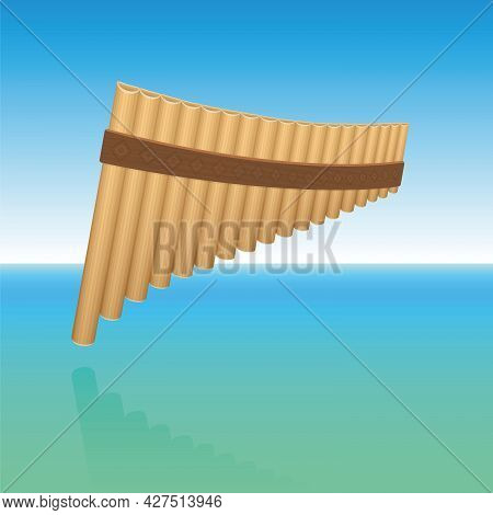 Pan Flute Floating Above Ocean Water, Symbolic For Tranquil, Meditative, Peaceful Music. Woodwind In