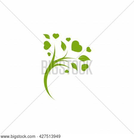 Green Tree With Leaves And Hearts Isolated On White. Organic Symbol. Natural, Fresh, Eco Logo. Love,
