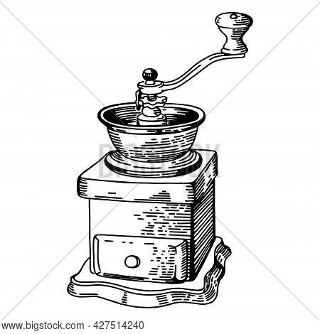 Drawing Coffee Grinder Sketch, Vector Image Isolated On A White Background