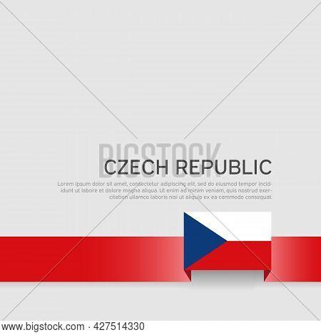 Czech Republic Flag Background. State Patriotic Banner Czech Republic, Cover. Ribbon Color Flag On A