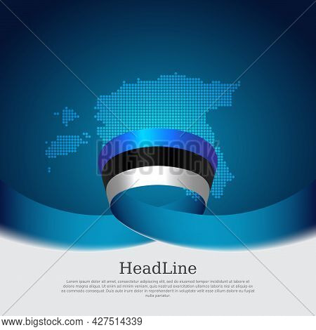 Estonia Flag, Mosaic Map On Blue White Background. Wavy Ribbon With The Estonian Flag. Vector Banner