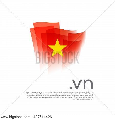 Vietnam Flag. Vector Stylized Design National Poster On A White Background. Vietnamese Flag Painted