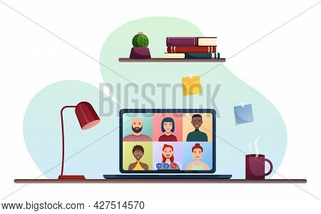 Online Conference Of A Group Of People. Online Meeting, Distance Learning, Work From Home. Laptop Sc