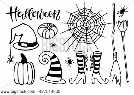Halloween Text With Holiday Attributes Sketch. Halloween Autumn Lettering Sign With Witch Hats And S