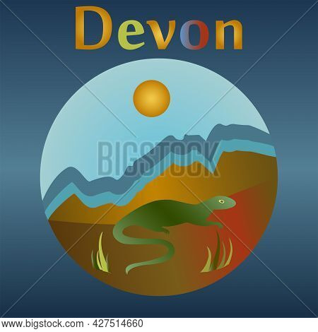 Devonian Eon In The History Of The Earth. The Emergence Of Terrestrial Vertebrates And Amphibians.