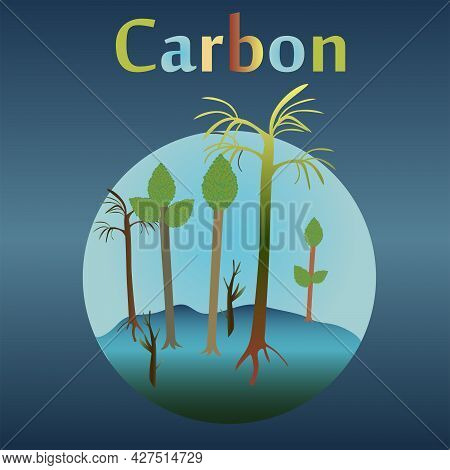 Carboniferous Eon In The History Of The Earth. Trees, Horsetails, Ploons, Papillaries.