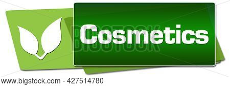 Cosmetics Text Written Over Green Leaves Background.