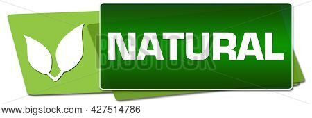 Natural Text Written Over Green Background With Leaves Symbol.