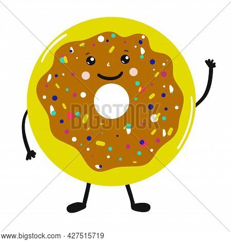 Donut Cartoon Cute Character With Sprinkles Isolated Vector Illustration