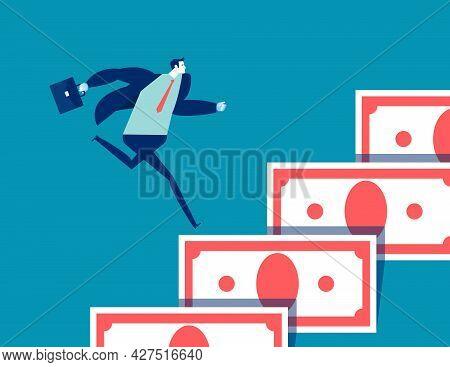 Money Help Business Concept. Businessman Run Upwards