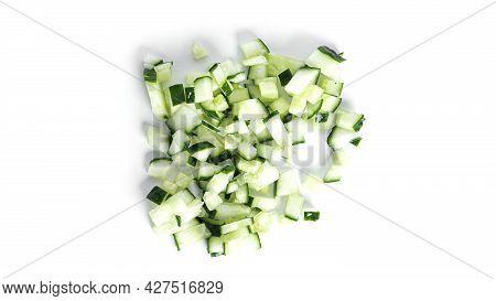 Cucumber Isolated On White Background. Cucumbers Isolated. Cutted Cucumber. Cucumber Pieces.