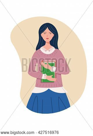 Cute Student Girl With A Book In Her Hand. Vector Illustration Of A Apprentice, The Concept Of Educa