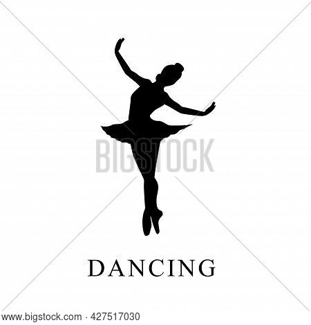 Black Silhouette Design On White Background Isolated Of Women's Ballet Dancing, Vector Illustration