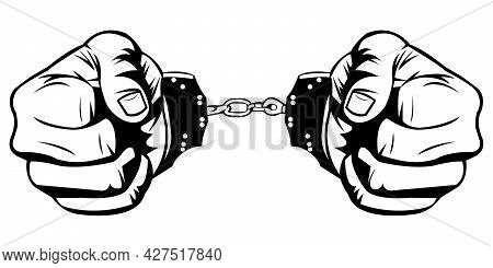 Simple Black And White Illustration Of Two Hand In Handcuffs On White Background. Prisoner Hands. A