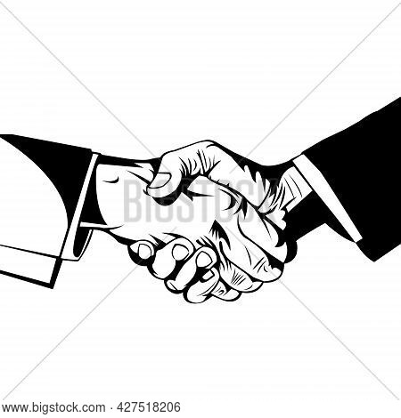 Simple Black And White Illustration Of Two Men Shaking Hands On White Background. Professional Occup