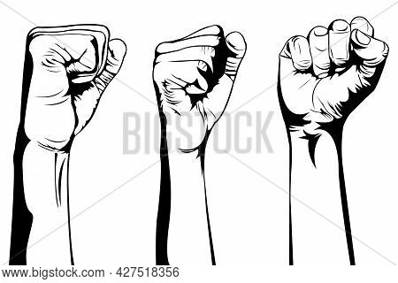 Simple Black And White Illustration Of Three Hands That Raise Their Fists Up On White Background. Hu