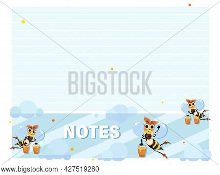 Bees. Notes. Note Page For Childrens Notebook, Organizer With Cute Bees Collecting Honey. Vector