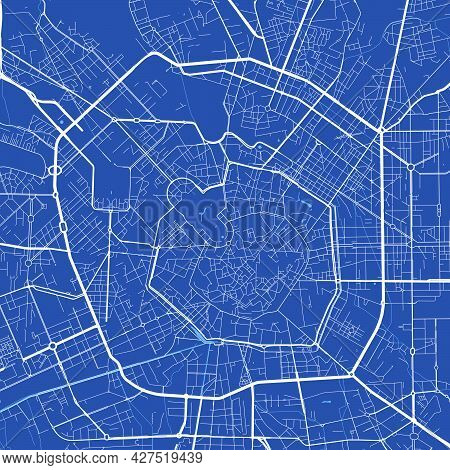 Detailed Map Poster Of Milan City Administrative Area. Cityscape Panorama. Decorative Graphic Touris