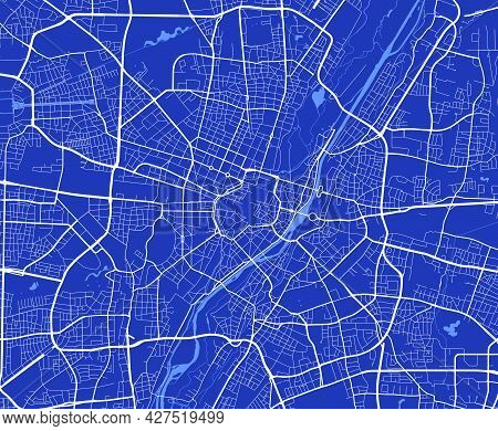 Detailed Map Poster Of Munich City Administrative Area. Cityscape Panorama. Decorative Graphic Touri