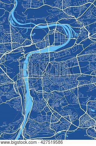 Detailed Map Poster Of Prague City Administrative Area. Cityscape Panorama. Decorative Graphic Touri