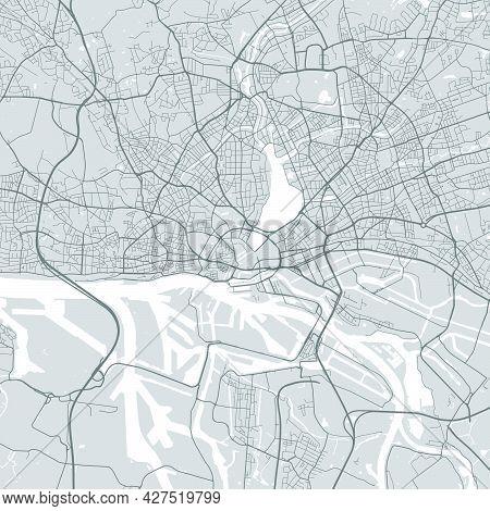 Urban City Map Of Hamburg. Vector Illustration, Hamburg Map Grayscale Art Poster. Street Map Image W