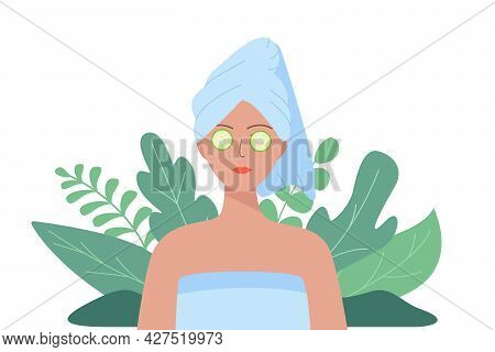 Woman With A Towel On Her Head And Cucumber Slices On The Eyes. Vector Illustration Of The Concept O