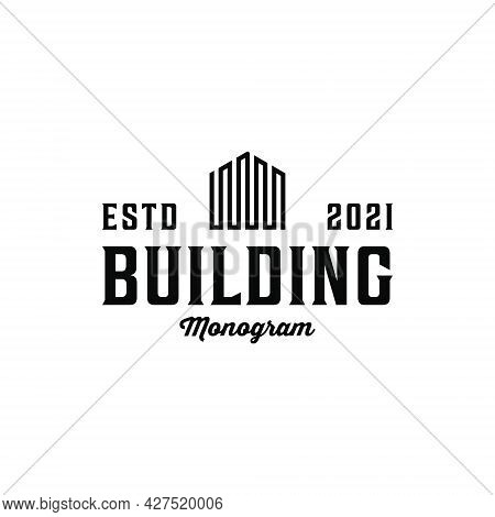Vintage Retro Minimalist Building Logo Design. Logo Can Be Used For Icon, Brand, Identity, Hipster,