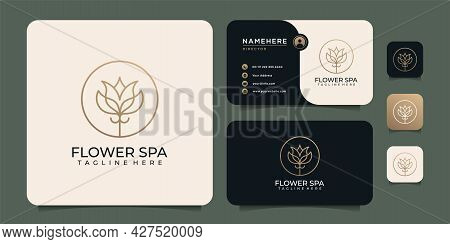 Beauty Luxury Spa Golden Logo Design Fashion Salon Icon And Business Card Template. Logo Can Be Used