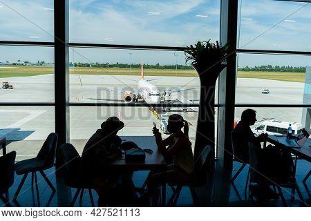 Ukraine, Odessa - July 16, 2021: Odessa Airport. Inside The Terminal Before The Flight. Odesa Ods Ai