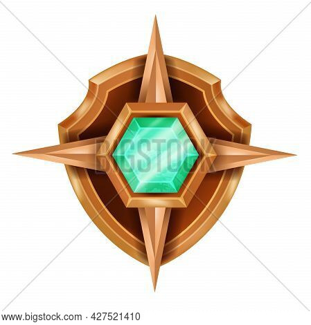Gold Game Badge Icon, Vector Rank Award Medal, Ui Winner Trophy Achievement Design On White. Rank Ch