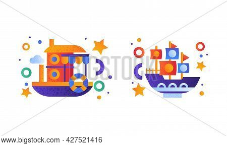 Water Transport Set, Steamboat, River Boat Icons Flat Vector Illustration