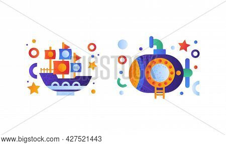 Water Transport Set, Steamboat, Submarine With Periscope Icons Flat Vector Illustration
