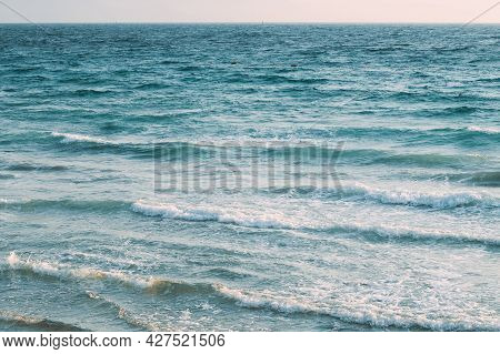 Riplpe Sea Ocean Water Surface With Small Waves. Background. Riplpe Sea Ocean Water Surface With Sma