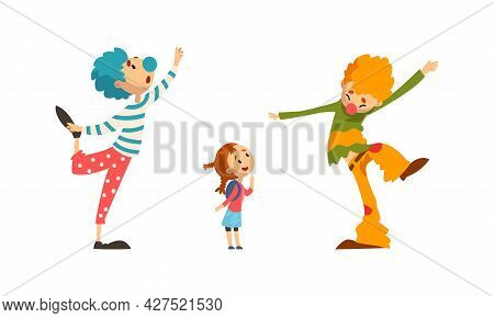 Funny Clowns Characters Set, Colorful Friendly Clowns Entertaining Children At Birthday Or Carnival