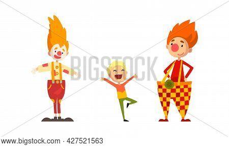 Amusement Clowns Characters Set, Funny Clowns Entertaining Children At Circus Show Cartoon Vector Il