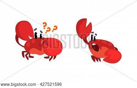 Funny Crab Characters Set, Amusement Sea Creatures Activity Cartoon Vector Illustration