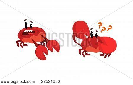 Cute Crab Characters Activity Set, Amusement Sea Creatures With Smiling Faces Cartoon Vector Illustr