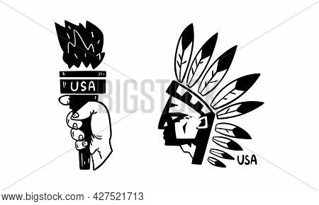 Usa Logo Badges Set, American Indian And Statue Of Liberty National Symbols, Patriotic Or Independen