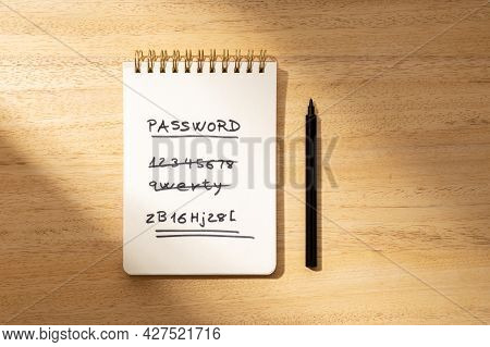 Strong And Weak Easy Password Concept. Handwritten Text On Paper Notepad Isolated On Wooden Desk. Fl
