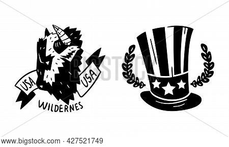 Usa Logo Badges Set, Monochrome American National Symbols, Patriotic Black Emblems, Stickers Vector