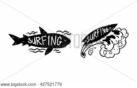 Set Of Surfing Logo Design, Surf Club Monochrome Labels And Emblems Vector Illustratio
