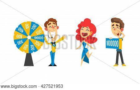 Lottery Show, Lucky Happy People Winning Jackpot On Million Dollars Cartoon Vector Illustration