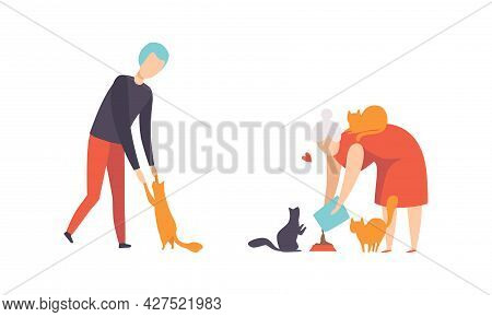 Cat Pet Owners Set, People Hugging And Petting Cats Flat Vector Illustration