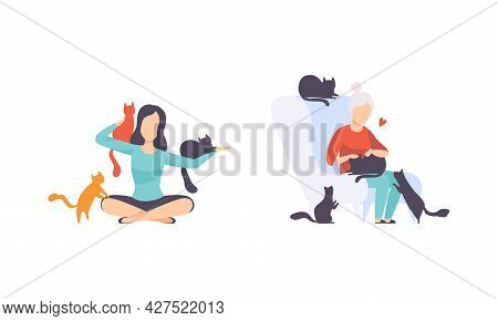 Cat Owners Set, People Hugging And Petting Their Pets Flat Vector Illustration