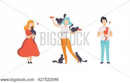 Cat Owners Spending Time With Their Pets Set, People Hugging And Feeding Cats Flat Vector Illustrati