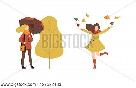 Autumn Time Outdoor Activities Set, Young Women Walking With Umbrella, Throwing Leaves Up Flat Vecto