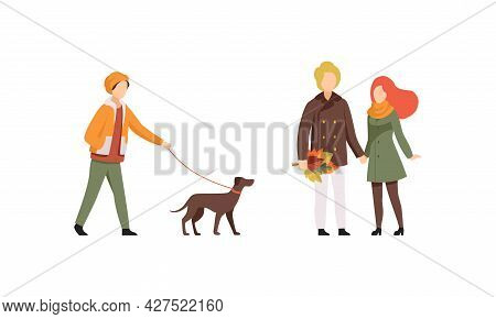 Autumn Time Activities Set, People In Outwear Casual Clothes Walking In Park Flat Vector Illustratio