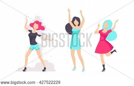 Girls Drinking At Party, Young Women In Fashionable Outfit Having Fun At Nightclub Flat Vector Illus