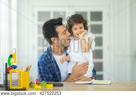 Father And Daughter, Happy Family Spending Time At Home.